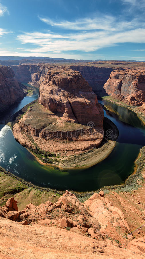 Vertical view of Horse Shoe Bend. At Arizona, USA royalty free stock image