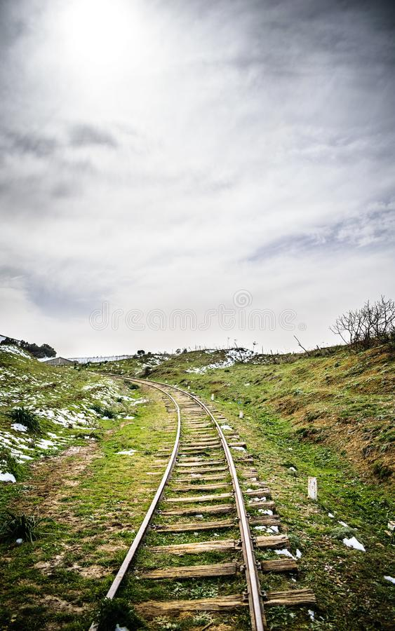 Algeria winter landscape. Vertical view of medea benchkaou landscapes with abandoned old woody railway stock photo