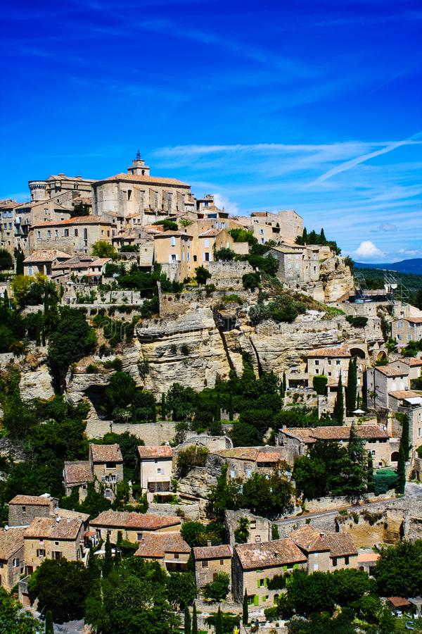 Vertical view of the medieval city of Gordes royalty free stock image