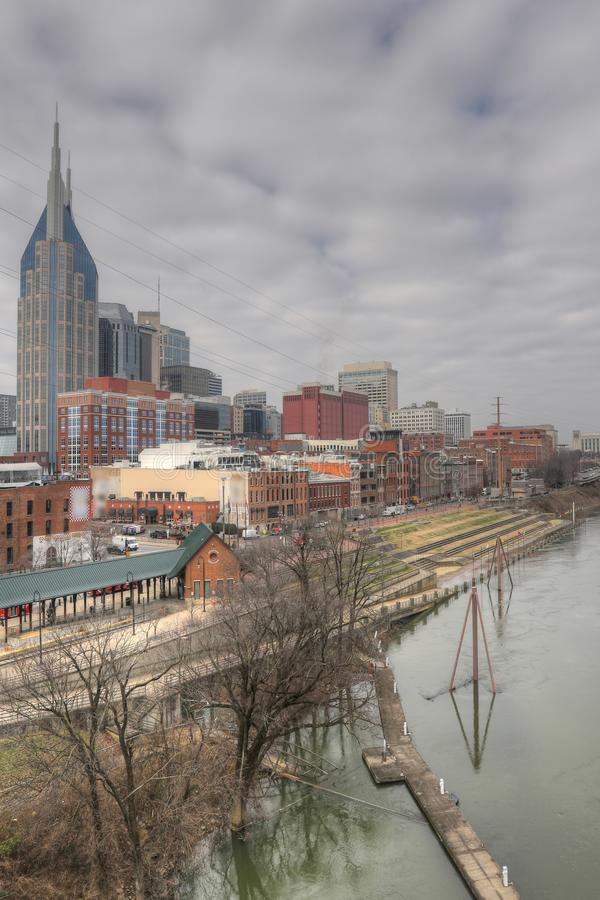 Vertical view of the Nashville, Tennessee downtown stock image