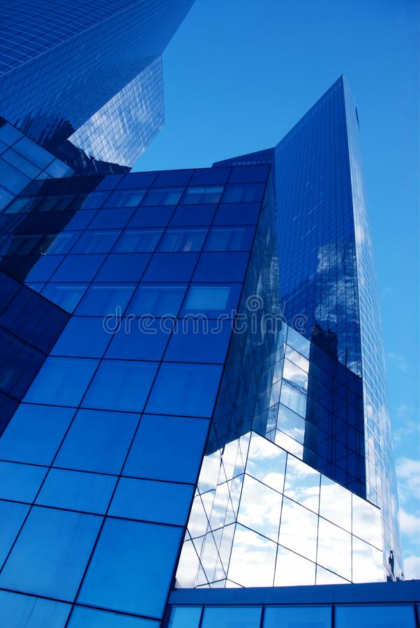 Vertical view of newest glass tower royalty free stock photos