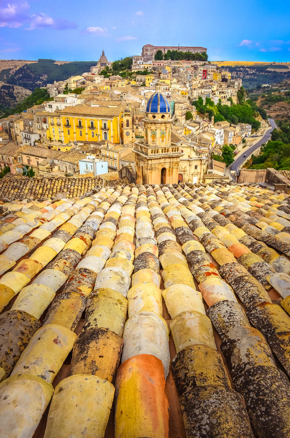 Free Vertical View Of Roofs And Beautiful Village Ragusa In Sicily Stock Images - 35551554