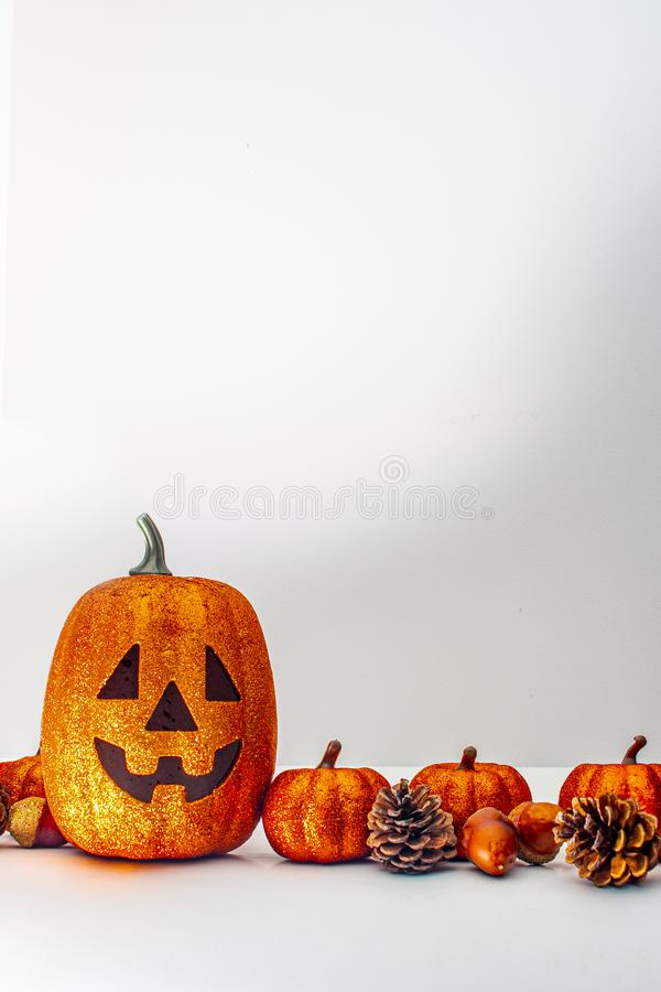 A vertical view of a Pumpkin and ornaments on a white background. For text or graphics royalty free stock photos