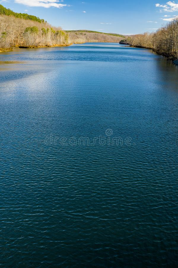 Vertical View of Roanoke River from Smith Mountain Dam. View of the Roanoke River from Smith Mountain Dam located, in Bedford and Pittsylvania County, Virginia royalty free stock photo