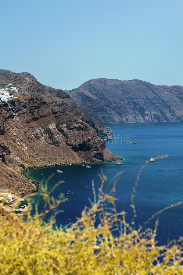 View from Oia in Santorini, Greece. Vertical view of Santorini, one of the most beauiful islands in Greece stock photos