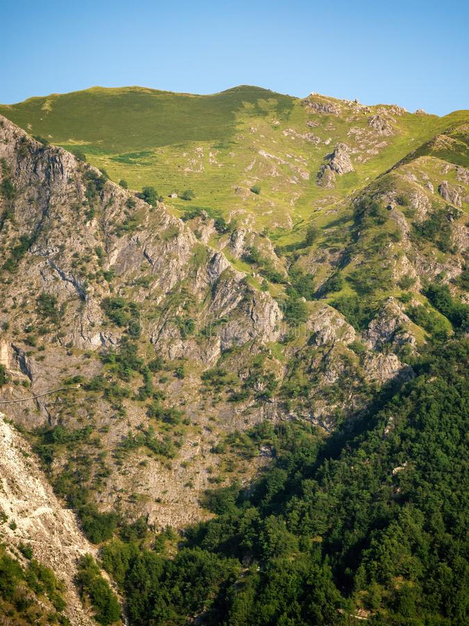 Vertical view of section of the Apuan Alps, Alpi Apuane, near the Vestito Mountain Pass. Massa Carrara, Italy, Europe stock photo