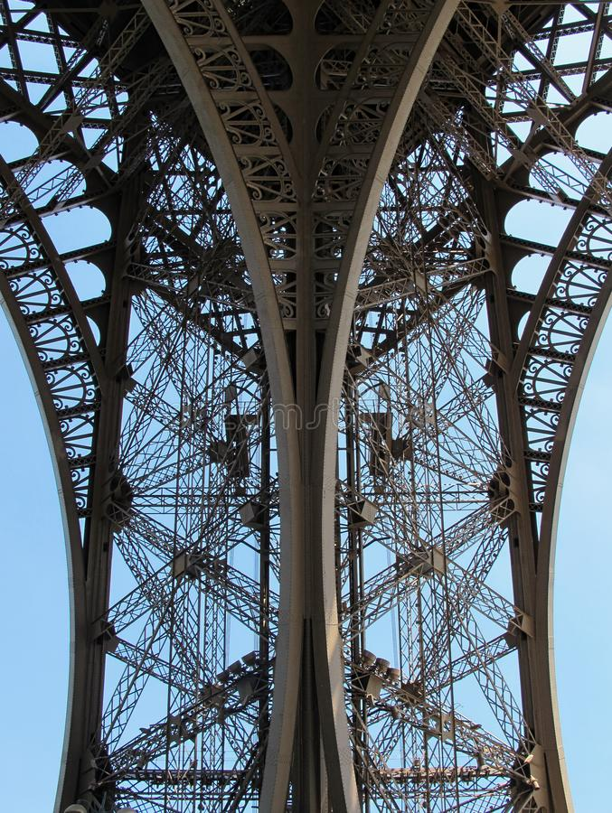 Symmetrical View of Eiffel Tower Leg in Paris, France royalty free stock photography