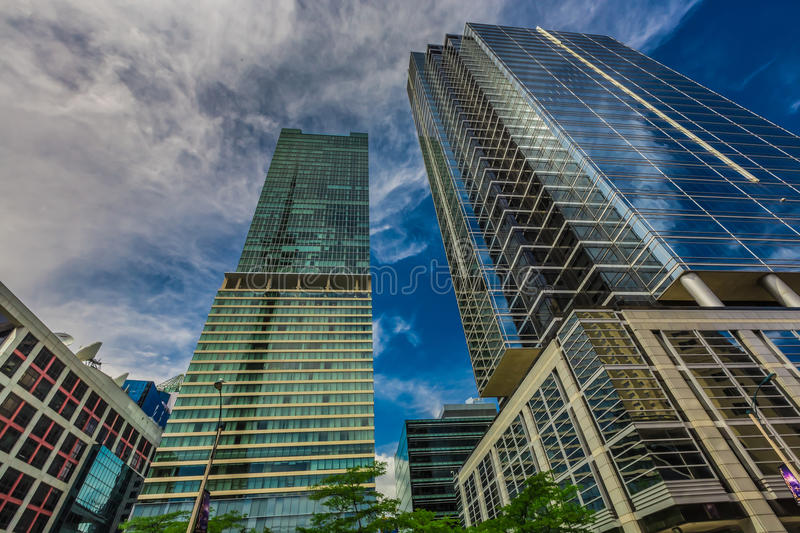 Vertical view of skyscrapers in downtown royalty free stock photography