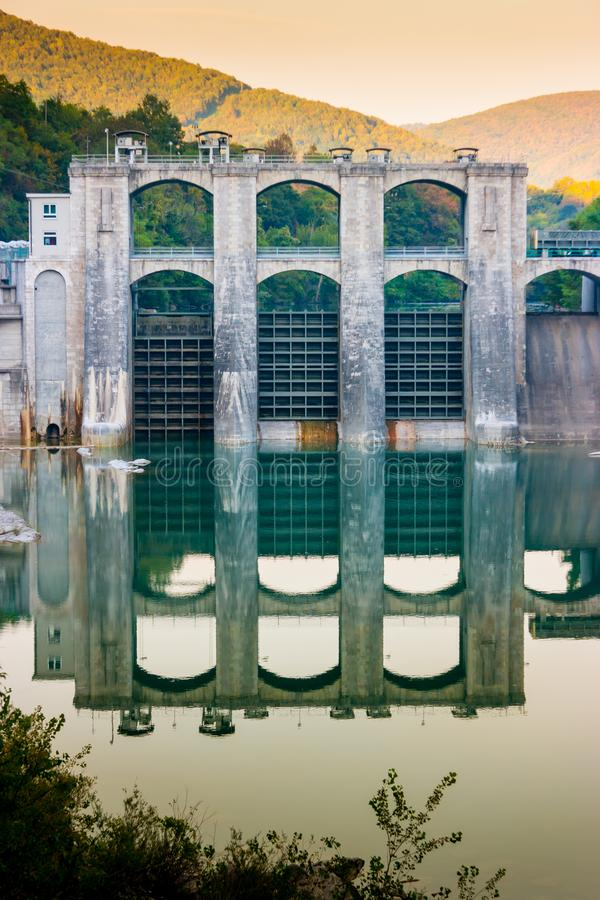 Vertical view of Soca river dam royalty free stock photography