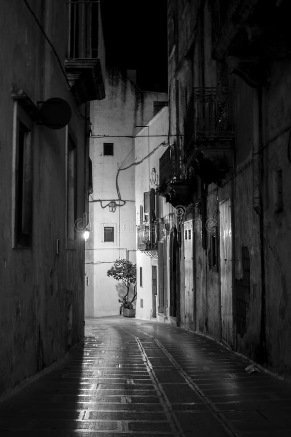 Vertical View in Greyscale of a Street Illuminated By Artificial. Vertical View of a Street Illuminated By Artificial Light at Night. City of Martina Franca royalty free stock photo