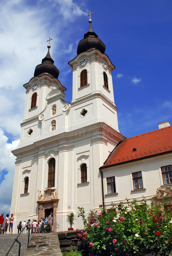 Vertical view of Tihany abbey stock photography