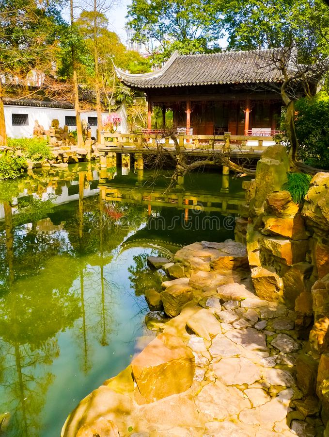 Vertical view of a traditional pavilion in Yuyuan Gardens royalty free stock images