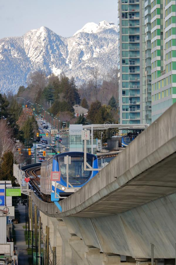 Vertical View of Vancouver Commuter Services royalty free stock photo