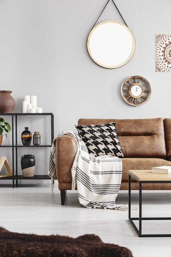 Vertical view of warm ethno living room royalty free stock photos