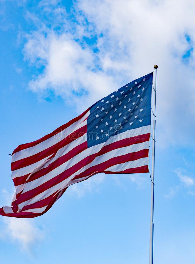 A Vertical View of a Waving American Flag royalty free stock photos