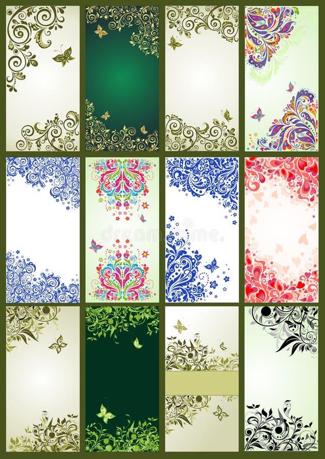 Vertical vintage floral banners stock illustration