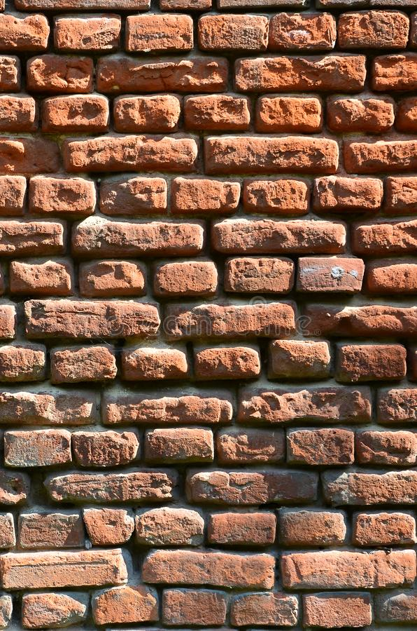 Vertical wall texture of several rows of very old brickwork made of red brick. Shattered and damaged brick wall with pinched corn. Ers royalty free stock images