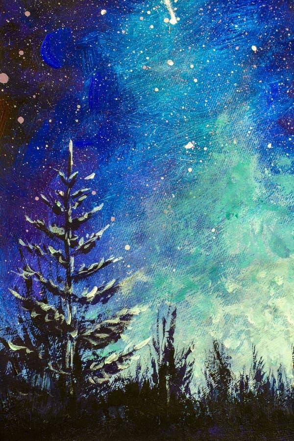Vertical Watercolor, pintando óleo acrílico sobre tela - Árvore de Natal à noite contra o fundo noturno estrelado do céu leitoso  ilustração royalty free
