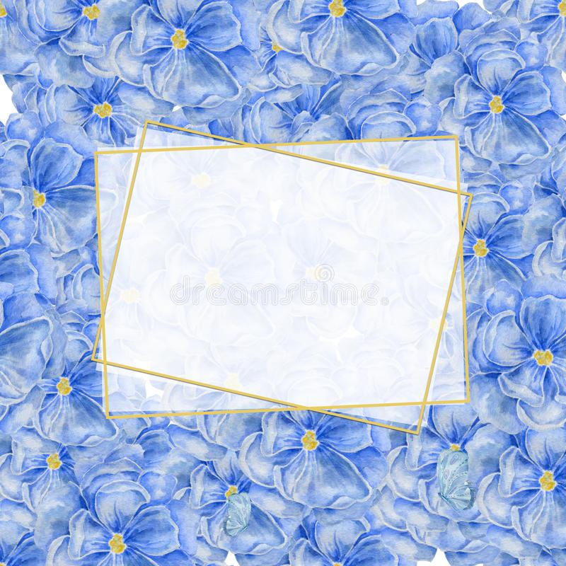 Vertical white polygonal gold frame with on blue flowers background. Watercolor floral design for cosmetics, perfume stock illustration
