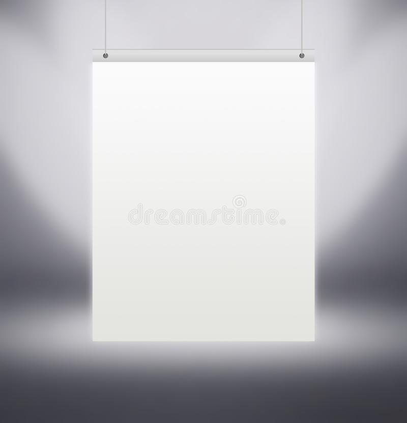 Vertical white poster hanging on the grey wall in the Studio, stock images
