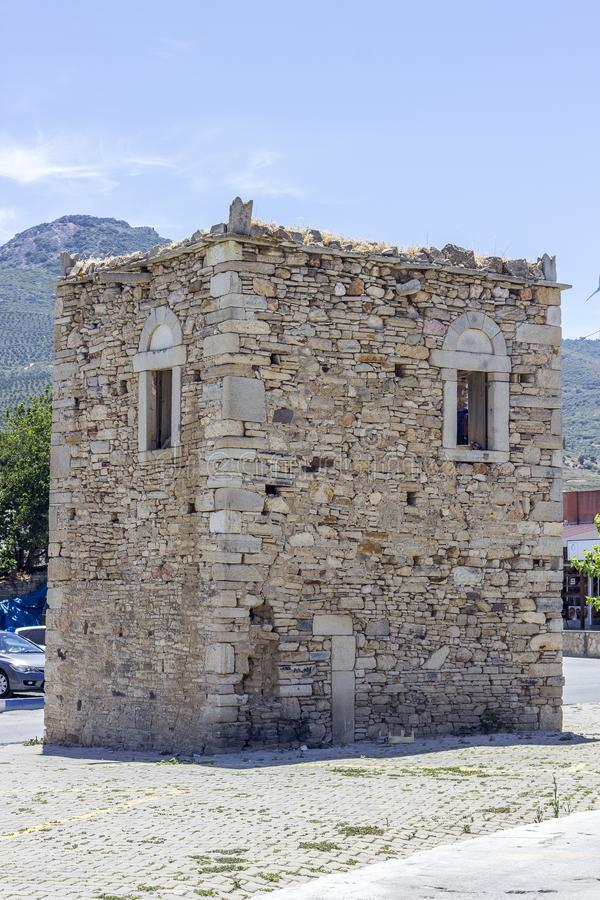 Vertical wide shot of old masonry building under clear sky. In the city at Turkey stock images