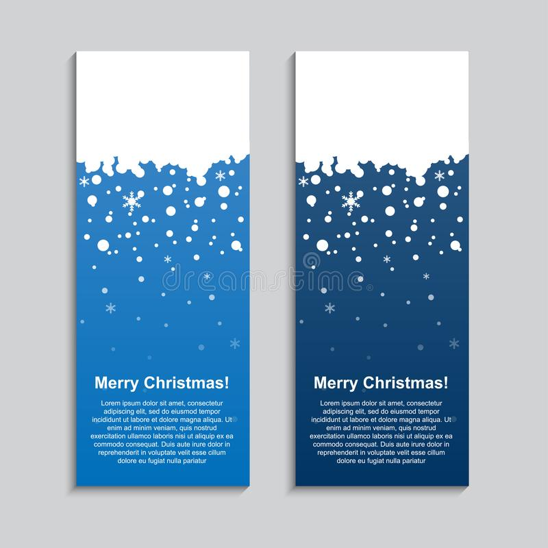 Vertical Winter Banner Stickers, Price Tag, Label. Vertical Winter Blue Banner. Stickers, Price Tag Label Poster, Card. Happy Holidays Rectangle Banners stock illustration