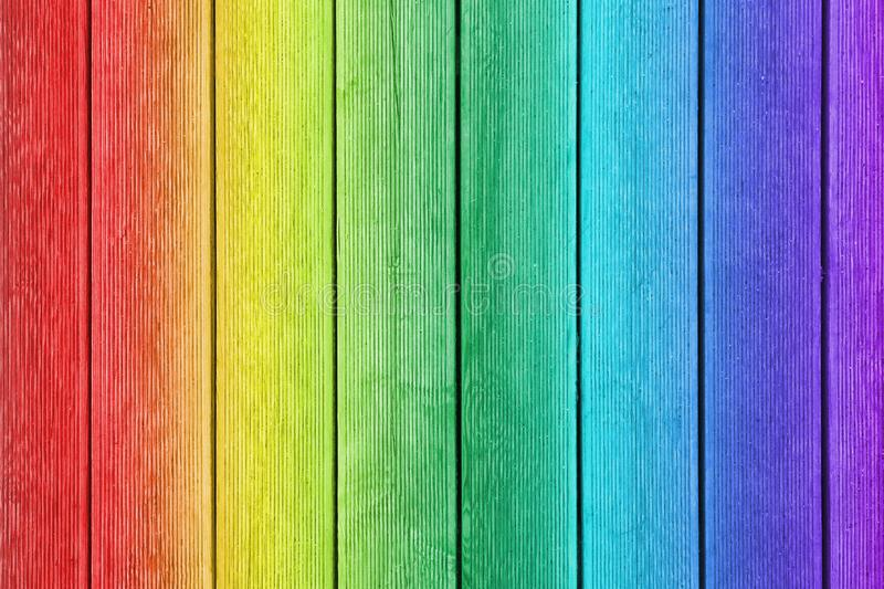 Vertical wooden planks painted as rainbow royalty free illustration