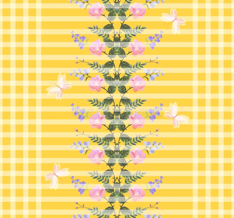 Vertical wreath of pink roses and lilac bell flowers on yellow striped and checkered background. Seamless print.  royalty free illustration