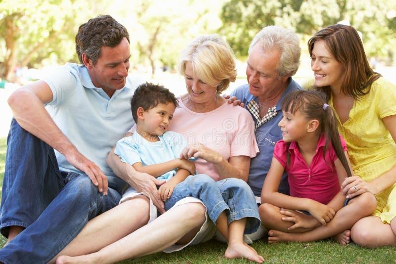 Verticale étendue de groupe de famille appréciant le jour photographie stock libre de droits