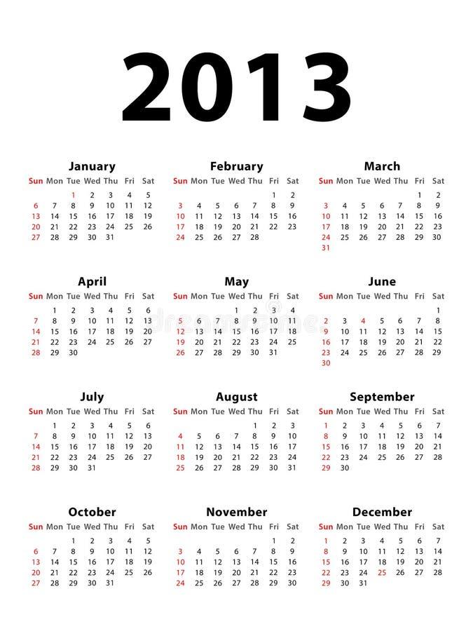 Verticale 2013 de calendrier illustration stock