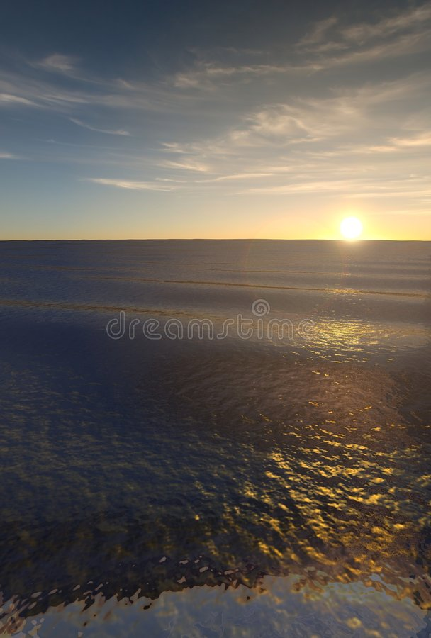 Verticale 3d zonsondergang
