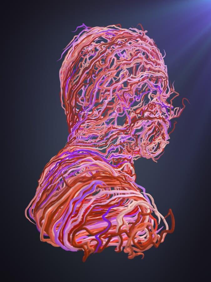 Verticale abstraite Courbes roses de entrelacement rendu 3d illustration libre de droits