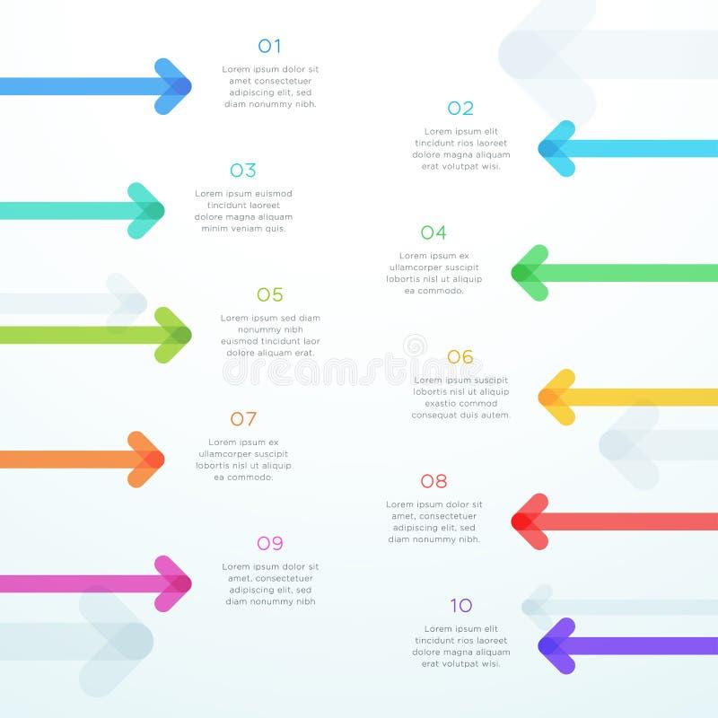 Verticale abstraite Infographic d'étape de la flèche 10 de vecteur illustration de vecteur