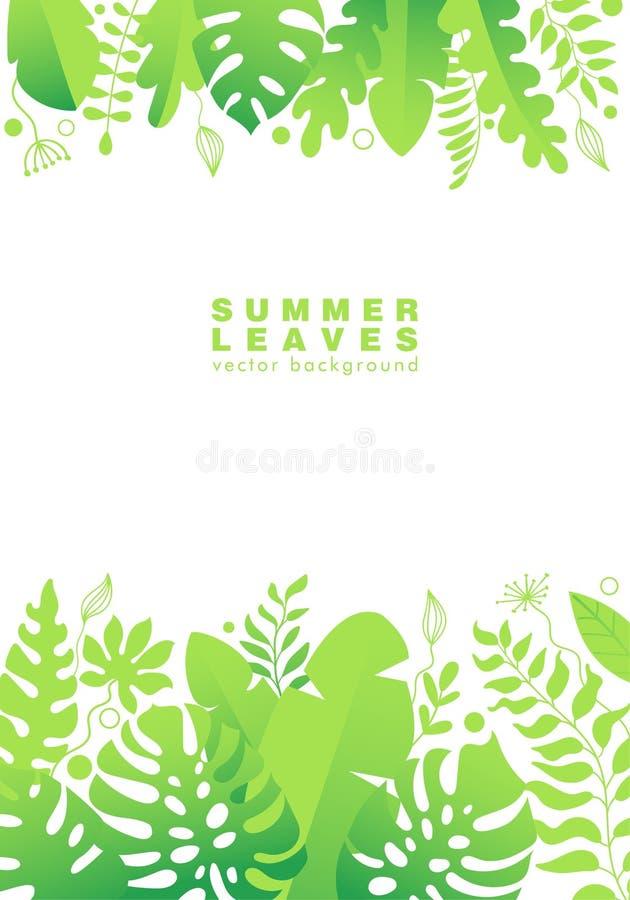 Verticale achtergrond met de takken en de bladeren van de wildernispalm stock illustratie