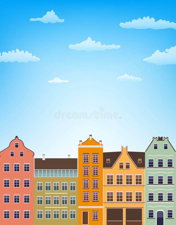 Verticale achtergrond met retro huizen over blauwe hemel met wolken vector illustratie