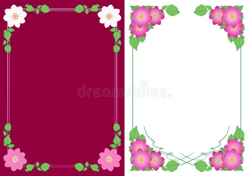 Verticale achtergronden met bloemendahlia's in hoeken - vector bloemen decoratieve kaders stock illustratie