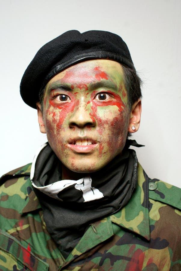 Verticale asiatique de commando d'armée image libre de droits