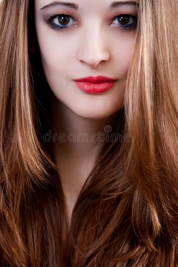 Verticale avec le cheveu droit photographie stock