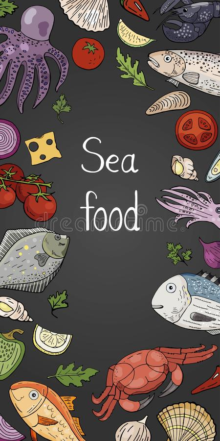 Verticale banner met verschillende zeevruchten op bord stock illustratie