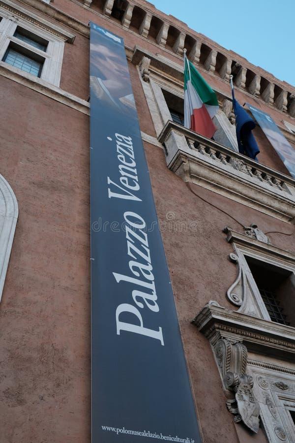Verticale banner van het Nationale Museum van Palazzo Venezia, Rome stock foto