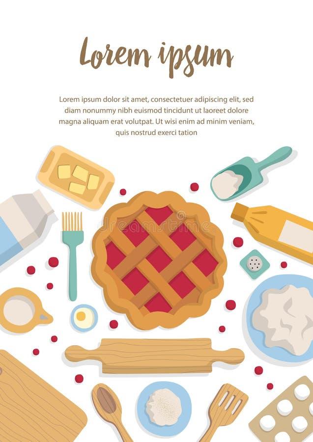 Verticale bannerreeks toebehoren voor keuken en bakkerij royalty-vrije illustratie