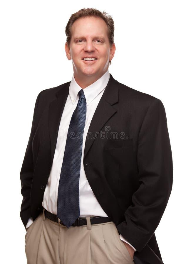 Verticale belle d'homme d'affaires sur le blanc image stock