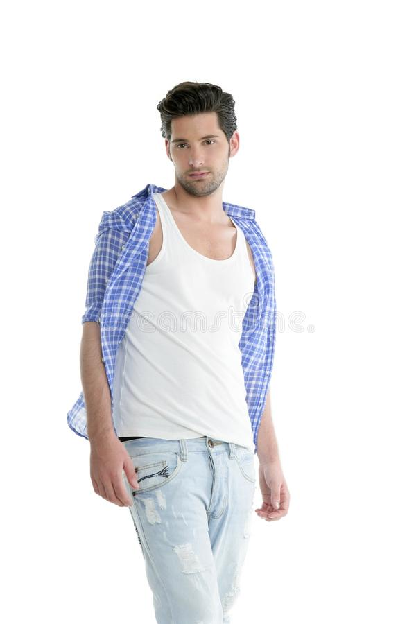 Verticale belle d'homme de denim occasionnel de mode photos libres de droits