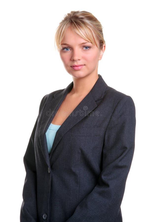 Verticale blonde de femme d'affaires images stock
