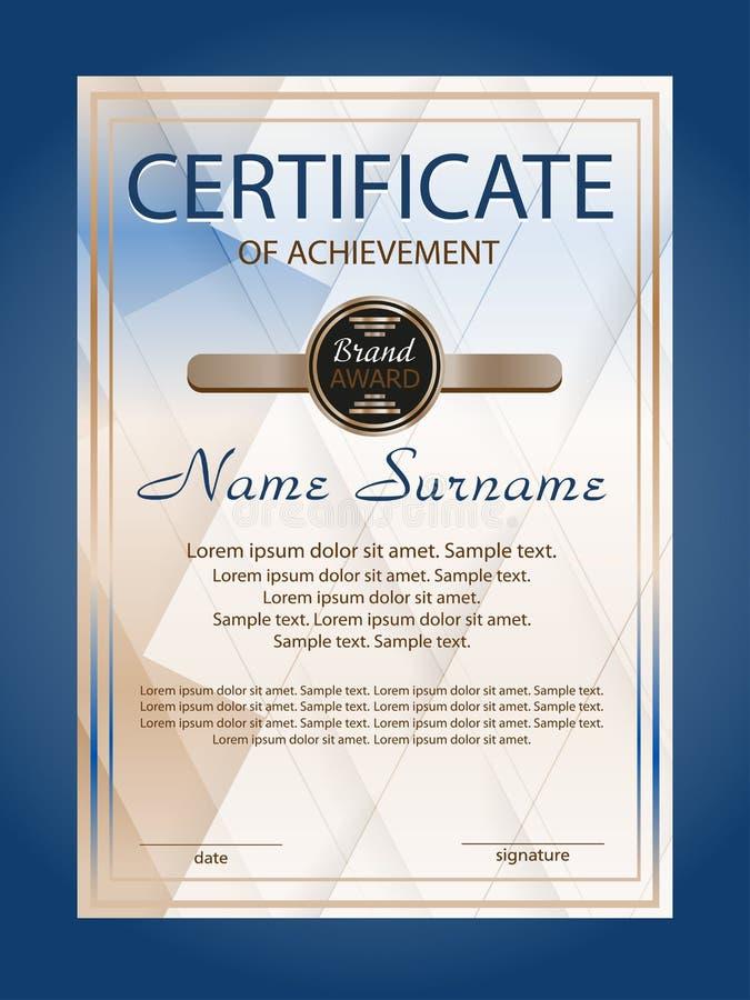 Verticale certificaatvoltooiing of diplomamalplaatje met blauwe geometrische moderne achtergrond Vector royalty-vrije illustratie