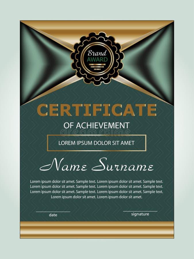 Verticale certificaatvoltooiing of diplomamalplaatje met de elegante achtergrond van het elementenontwerp Vector stock illustratie