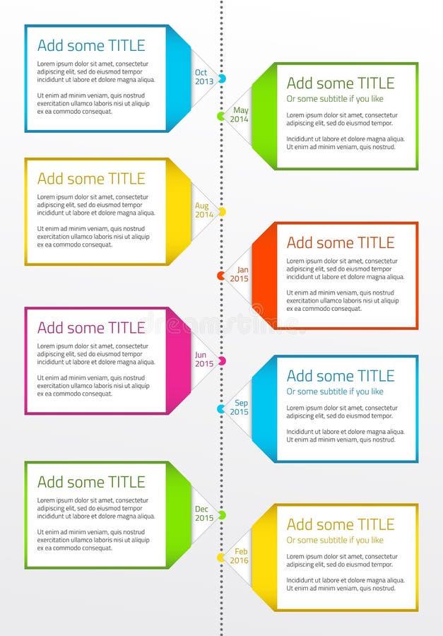 Verticale chronologie met dozen voor grote beschrijving vector illustratie