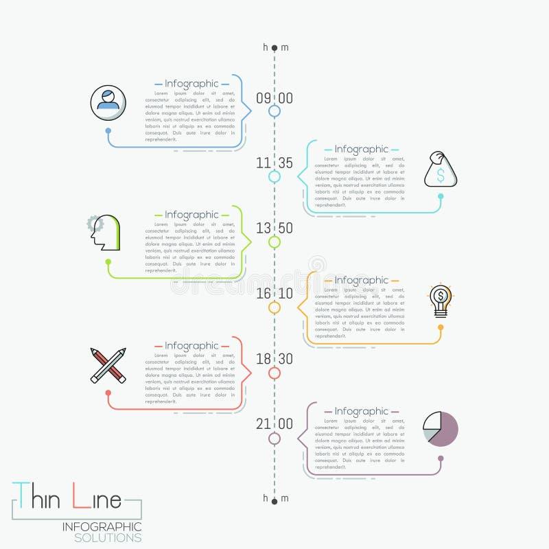 Verticale chronologie met tijdaanwijzing, pictogrammen en tekstvakjes royalty-vrije illustratie