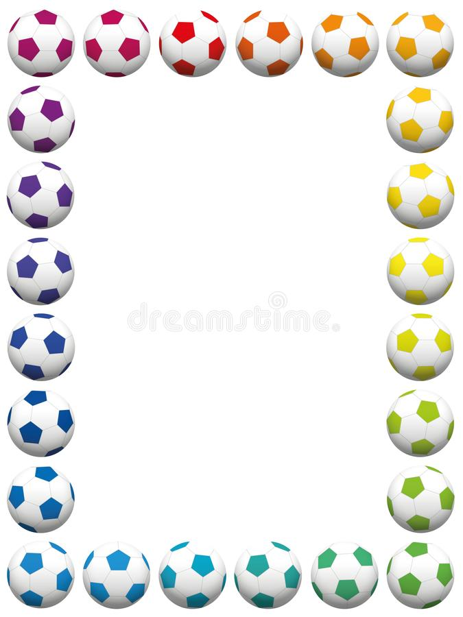 Verticale colorée de cadre de ballons de football illustration stock