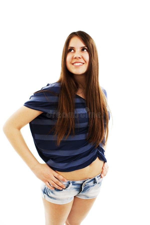 Verticale d'adolescente attirante, recherchant image stock